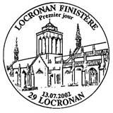 Oblitération 1er jour à Locroman le 13 juillet 2002