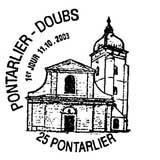 Oblitération 1er jour à Pontarlier le 11 octobre 2003
