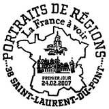 Oblitération 1er jour à Saint-Laurent-du-Pont le 24 février 2007