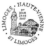 Oblitération 1er jour à Limoges le 23 mars 2007
