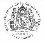 Oblitération 1 jour  à Paris au Carré d'Encre, Annecy, Chambéry et St Jean-de-Maurienne le 27 et 28 mars 2010