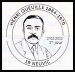 Oblitération 1er jour à Paris au Carré d'Encre et à Neuvic le vendredi 17 février 2012