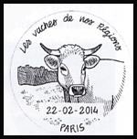 Oblitération 1er jour à Paris au Carré d'Encre et au salon de lagriculture le samedi 22 février 2014