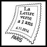 Oblitération 1er jour à Paris au Carré d'Encre et au salon philatélique d'automne le 6, 7 et 8 novembre 2014