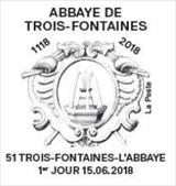 Oblitération 1er jour à Paris au carré d'Encre et à  Trois-Fontaines-L'Abbaye (51) le 15 et 16 juin 2018