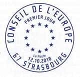 Oblitération 1er jour à Paris au Carré d'Encre le 12 et 13 octobre 2018 et Strasbourg(67) au Conseil de L'Europe le 12 octobre 2018