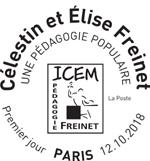 Oblitération 1er jour à Paris au carré d'Encre et à Vence Villa Alexandrine, le 12 et 13 octobre 2018