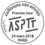 Oblitération 1er jour à Paris au carré d'Encre le 24 mars 2018