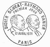 Oblitération 1er jour à Paris et Orléans le 17 avril 1971