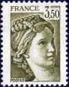 timbre N° 2121, Sabine 3 F 50 vert-olive