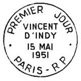 Oblitération 1er jour à Paris le 15 mai 1951