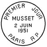 Oblitération 1er jour à Paris le 2 juin 1951