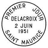Oblitération 1er jour à Saint Maurice le 2 juin 1951