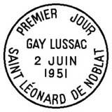 Oblitération 1er jour à Saint Léonard-de-Noblat le 2 juin 1951