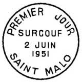 Oblitération 1er jour à Saint Malo le 12 juin 1951