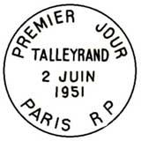 Oblitération 1er jour à Paris le 12 juin 1951
