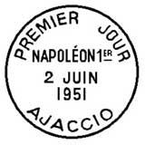 Oblitération 1er jour à Ajaccio le 2 juin 1951