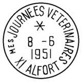 Oblitération 1er jour a «Journée vétérinaire» d'Alfort le 8 juin 1951