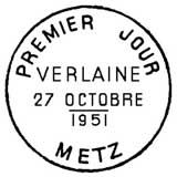 Oblitération 1er jour à Metz le 27 octobre 1951