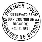 Oblitération 1er jour à Bagnère-de-Bigorre le 22 décembre 1951