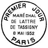 Oblitération 1er jour à Paris et Mouilleron-en-Pareds le 8 mai 1952