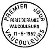 Oblitération 1er jour à Vaucouleurs le 11 mai 1952