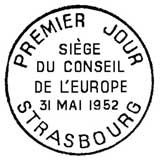 Oblitération 1er jour à Strasbourg le 31 mai 1952