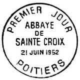 Oblitération 1er jour à Poitiers le 21 juin 1952