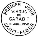 Oblitération 1er jour à Saint-Flour le 5 juillet 1952