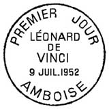 Oblitération 1er jour à Amboise le 9 juillet 1952