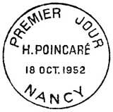 Oblitération 1er jour à Nancy le 18 octobre 1952