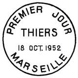 Oblitération 1er jour à Marseille le 18 octobre 1952