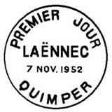 Oblitération 1er jour à Quimper Salon Philatélique d'Automne le 7 novembre 1952