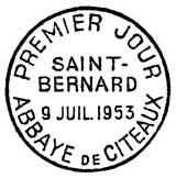 Oblitération 1er jour à Citeaux le 9 juillet 1953