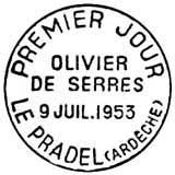 Oblitération 1er jour à Le Pradel le 9 juillet 1953