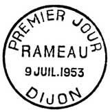 Oblitération 1er jour à Dijon le 9 juillet 1953