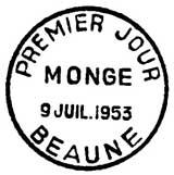 Oblitération 1er jour à Beaune le 9 juillet 1953