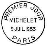Oblitération 1er jour à Paris le 9 juillet 1953