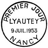 Oblitération 1er jour à Nancy le 9 juillet 1953