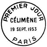 Oblitération 1er jour à Paris le 19 septembre 1953