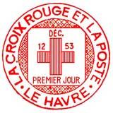 Oblitération 1er jour à Le Havre le 12 décembre 1953