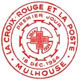 Oblitération 1er jour à Mulhouse le 13 décembre 1954