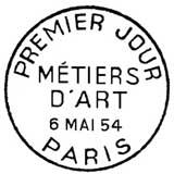 Oblitération 1er jour à Paris le 6 mai 1954