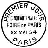 Oblitération 1er jour à Paris le 22 mai 1954