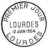 Oblitération 1er jour à Lourdes le 12 juin 1954