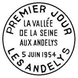 Oblitération 1er jour à Les Andelys le 5 juin 1954