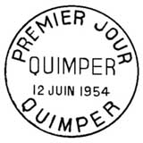 Oblitération 1er jour à Quimper le 12 juin 1954