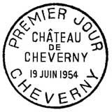 Oblitération 1er jour à Cheverny le 19 juin 1954