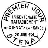 Oblitération 1er jour à Stenay le 26 juin 1954
