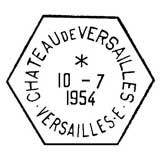 Oblitération 1er jour à Versailles le 10 juillet 1954